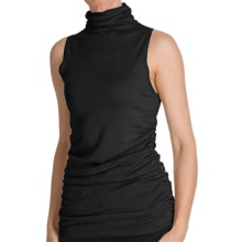 Cullen Ruched Funnel Neck Shell - Silk Blend, Sleeveless (For Women) in Black - Closeouts