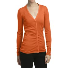 Cullen Silk-Cotton Ruched Cardigan Sweater - V-Neck (For Women) in Tangerine - Closeouts