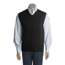 Cullen Solid Sweater Vest - Cashmere, V-Neck (For Men) in Black Combo - Closeouts