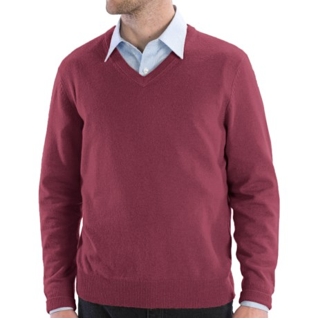 Cullen Solid V-Neck Sweater - Cashmere (For Men) in Salt