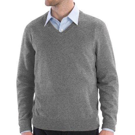 Cullen Solid V-Neck Sweater - Cashmere (For Men) in Derby Grey