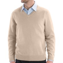 Cullen Solid V-Neck Sweater - Cashmere (For Men) in Salt - Closeouts