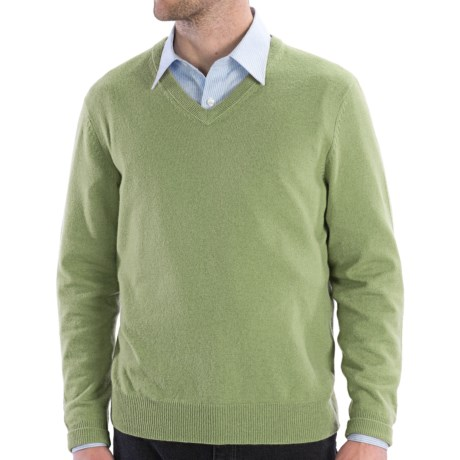 Cullen Solid V-Neck Sweater - Cashmere (For Men) in Sprout