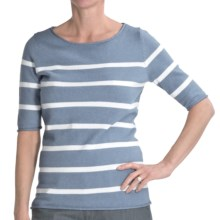 Cullen Striped Boat Neck Sweater - Cotton, Elbow Sleeve (For Women) in Chambray/White - Closeouts