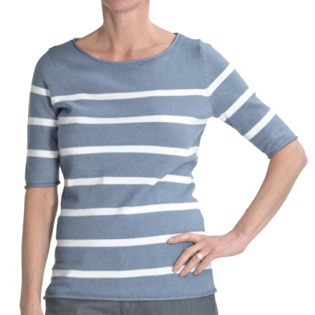 Cullen Striped Boat Neck Sweater - Cotton, Elbow Sleeve (For Women) in Chambray/White