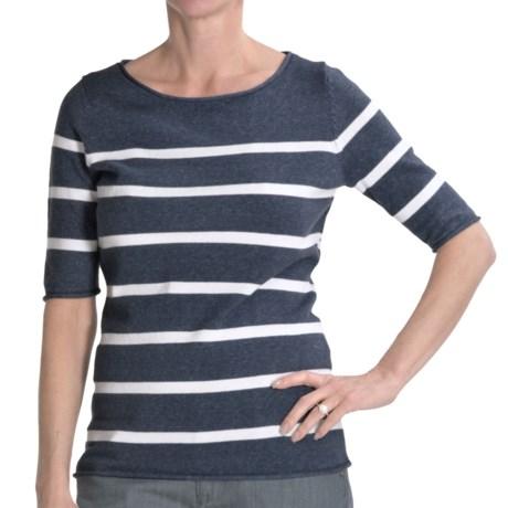 Cullen Striped Boat Neck Sweater - Cotton, Elbow Sleeve (For Women) in Dark Demin Wash/White