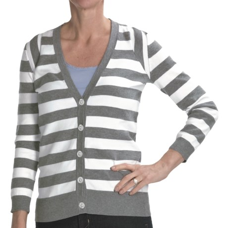 Cullen Striped Pima Cotton Cardigan Sweater - 3/4 Sleeve (For Women) in Pink/Yellow