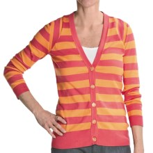 Cullen Striped Pima Cotton Cardigan Sweater - 3/4 Sleeve (For Women) in Pink/Yellow - Closeouts