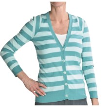 Cullen Striped Pima Cotton Cardigan Sweater - 3/4 Sleeve (For Women) in Sea Mist/Fresh Water - Closeouts