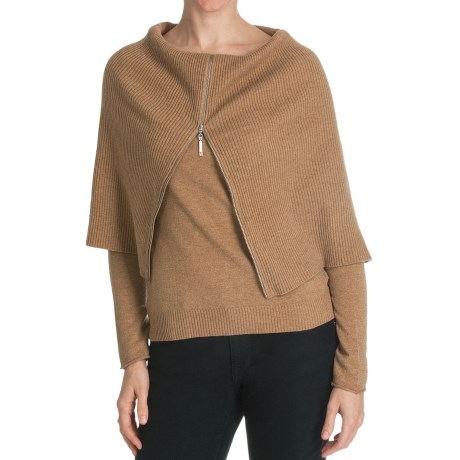 Cullen Superfine Wool-Cashmere Sweater - Zip Cowl Neck (For Women) in Caramel