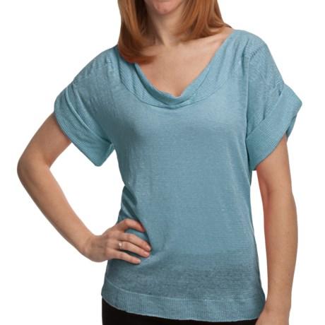 Cullen Tissue Linen Shirt - Drape Front, Short Sleeve (For Women) in Splash