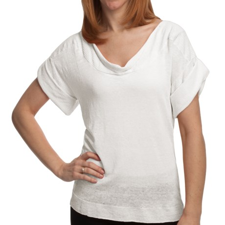 Cullen Tissue Linen Shirt - Drape Front, Short Sleeve (For Women) in White