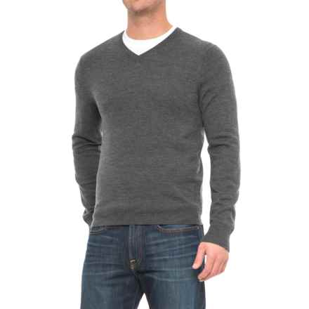 Cullen V-Neck Merino Wool Sweater (For Men) in Dark Grey - Closeouts