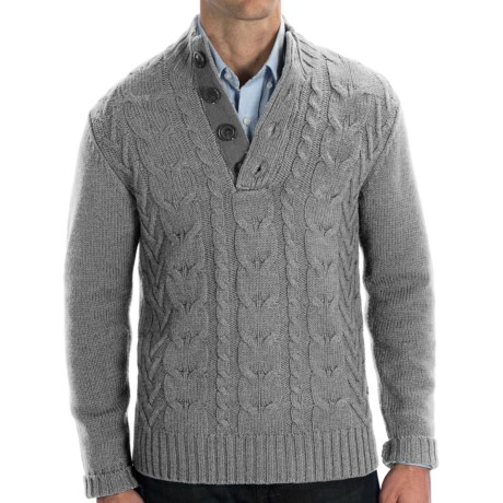 Cullen Wool Cable-Knit Sweater (For Men) in Grey Heather