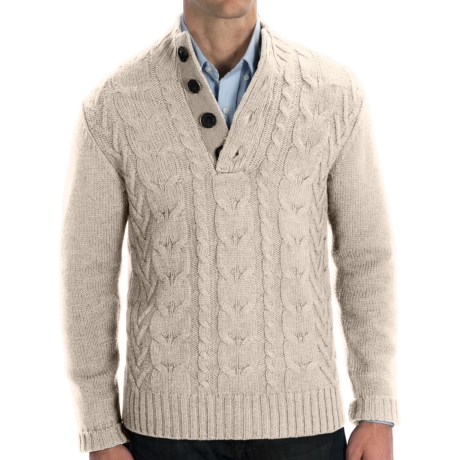 Cullen Wool Cable-Knit Sweater (For Men) in Plaster