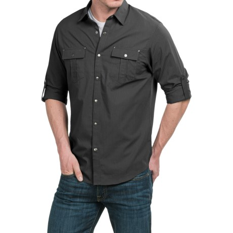 Cultura Alden Shirt Snap Front, Long Roll Up Sleeve (For Men)