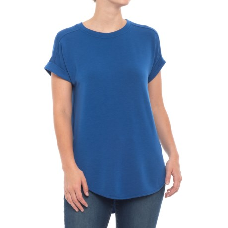 Cupio Blush Baby Terry Drop Shoulder Shirt - Short Sleeve (For Women) in Blue Jeans