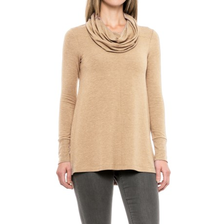 Cupio Blush Baby Terry Tunic Shirt - Long Sleeve (For Women) in Heather Oatmeal
