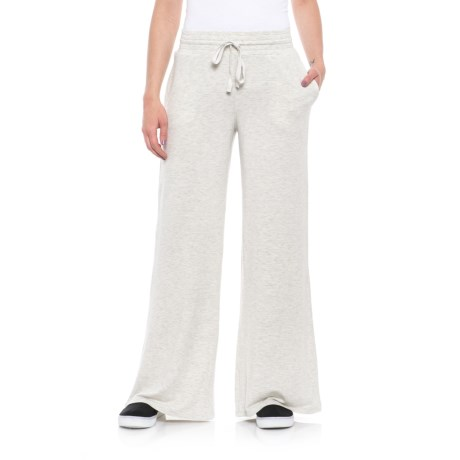Cupio Blush Baby Terry Wide-Leg Joggers (For Women) in Heather Grey/White