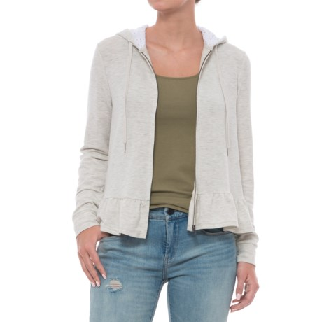 Cupio Blush Baby Terry Zip Front Hoodie - Long Sleeve (For Women) in Heather Grey White