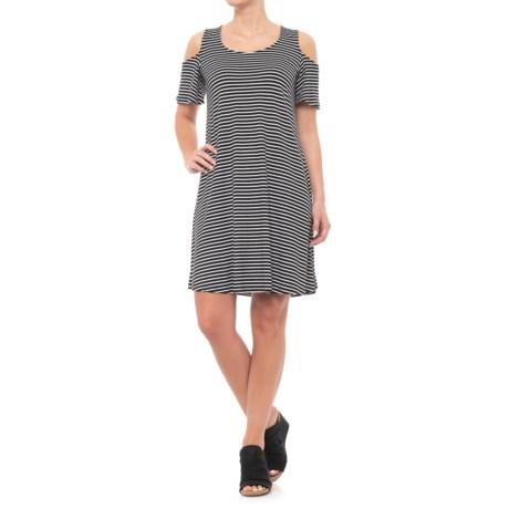 Cupio Blush Cold-Shoulder Swing Dress - Short Sleeve (For Women)