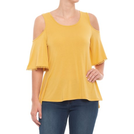 Cupio Blush Cold-Shoulder Tie-Dye Shirt - Elbow Sleeve (For Women) in Straw Yellow