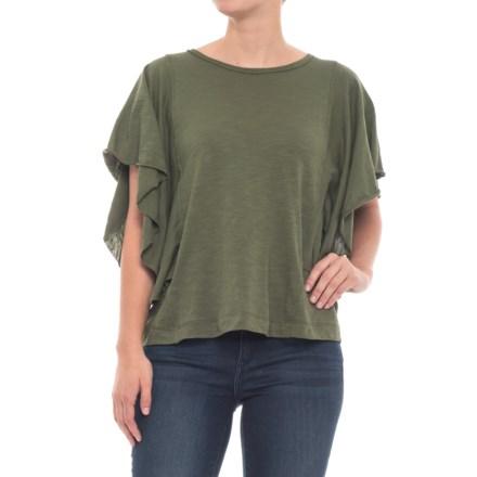 b5c94099f0 Cupio Blush Cotton Slub Flutter Sleeve Shirt - Short Sleeve (For Women) in  Dark