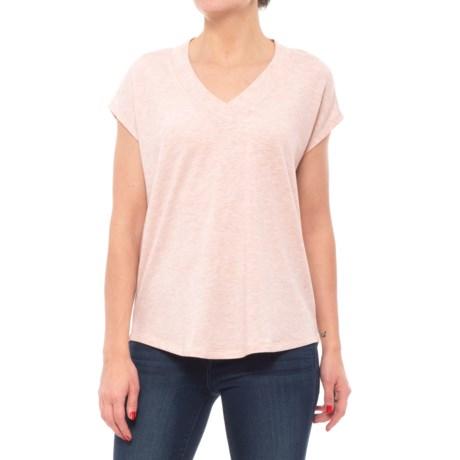 Cupio Blush Dolman V-Neck Shirt - Short Sleeve (For Women) in Heather Jasmine Pink