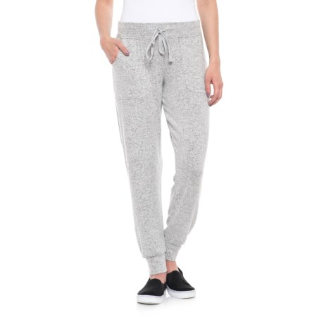 Cupio Blush Dream Cozy Soft Joggers (For Women) in Heather Gray Dreamsoft/ White