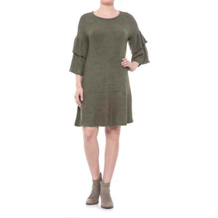 Cupio Blush Dream Ruffled Knit Dress - Elbow Sleeve (For Women) in Dusty Olive - Closeouts