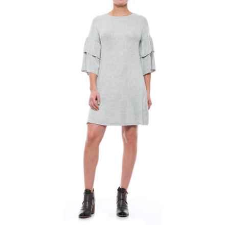 Cupio Blush Dream Ruffled Knit Dress - Elbow Sleeve (For Women) in Heather Grey - Closeouts