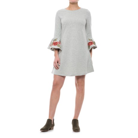 Cupio Blush Embroidered Bell Sleeve Dress - 3/4 Sleeve (For Women) in Casual Heather Grey