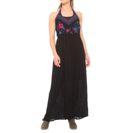 Cupio Blush Embroidered Halter Maxi Dress - Sleeveless (For Women) in Black