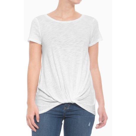 Cupio Blush Front Knot Shirt - Short Sleeve (For Women) in White