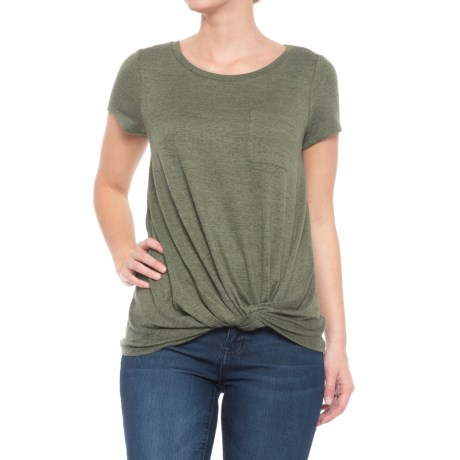 Cupio Blush Heather Endless Knit Twist Front T-Shirt - Short Sleeve (For Women) in Green Olive/Black Marl/Green Olive
