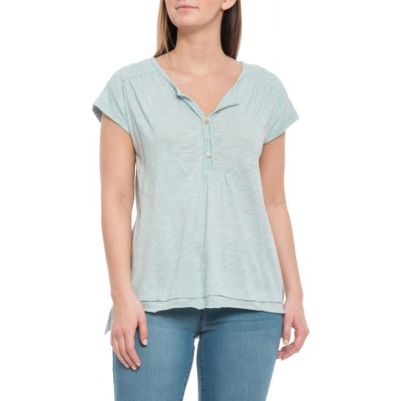 4055725336a Cupio Blush Henley Box Body Shirt - Short Sleeve (For Women) in Washed Mint