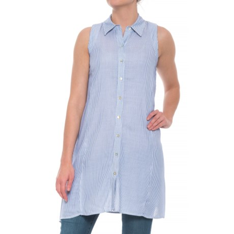 Cupio Blush Jacquard Stripe Woven Tunic Shirt - Sleeveless (For Women) in Blue/White