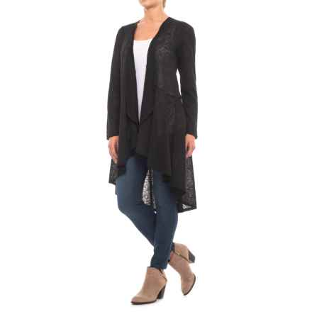 Cupio Blush Long Line Cardigan Sweater (For Women) in Black - Closeouts