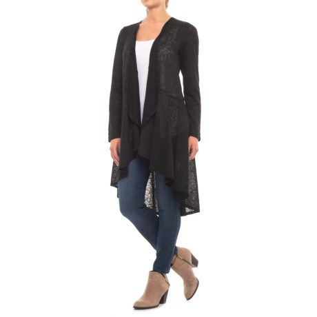 Cupio Blush Long Line Cardigan Sweater (For Women) in Black