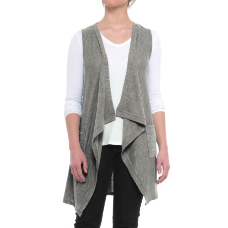 Cupio Blush Open-Front Cascade Vest with Pockets (For Women) in Spanish Olive/Pale Aloe