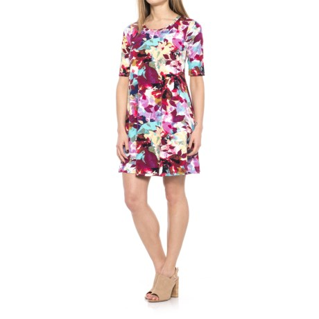 Cupio Blush Printed Viscose-Spandex Dress - Scoop Neck, Elbow Sleeve (For Women) in Multicolor Leaves