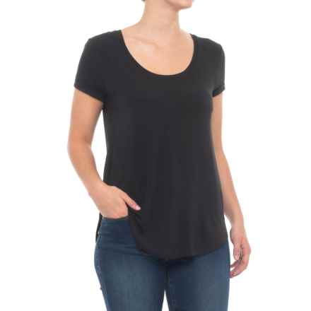 Cupio Blush Rolled Cuff T-Shirt - Scoop Neck, Short Sleeve (For Women) in Black - Closeouts