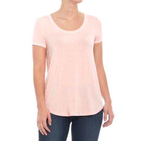 Cupio Blush Rolled Cuff T-Shirt - Scoop Neck, Short Sleeve (For Women) in Light Blush
