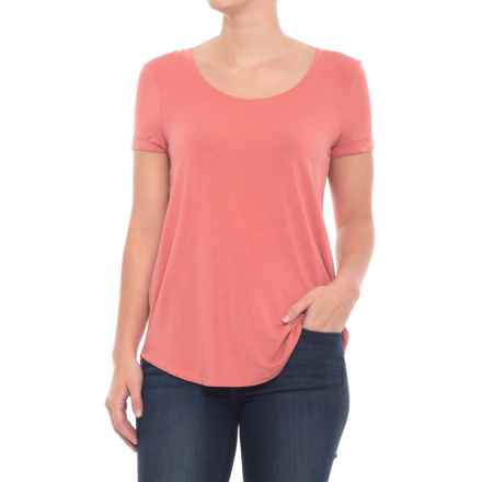 Cupio Blush Rolled Cuff T-Shirt - Scoop Neck, Short Sleeve (For Women) in Scorched Earth - Closeouts