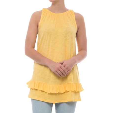 Cupio Blush Ruffle Hem Shirt - Sleeveless (For Women) in Sunflower