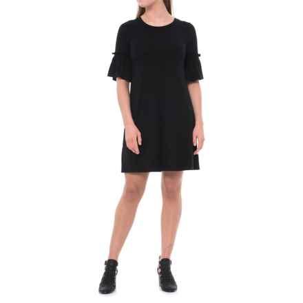 Cupio Blush Ruffle Sleeve Dress - Elbow Sleeve (For Women) in Black - Overstock