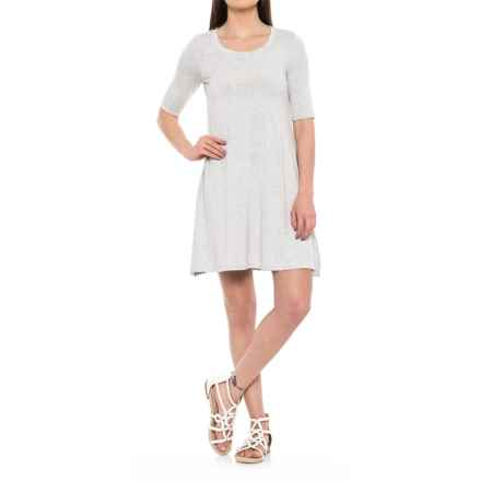 Cupio Blush Scoop Neck Dress - Elbow Sleeve (For Women) in New Light Heather Gray - Overstock