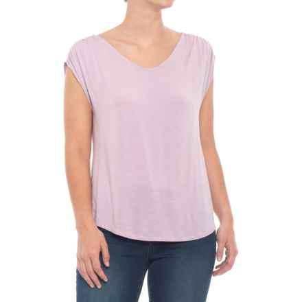 Cupio Blush Shirred Shoulder Shirt - Sleeveless (For Women) in Light Mauve - Closeouts