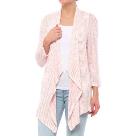 Cupio Blush Skinny Space Dyed Stripe Cardigan Sweater (For Women) in Natural/Antique Crimson Stripe - Closeouts