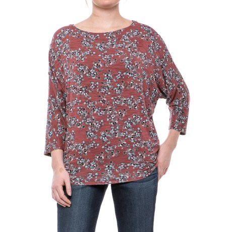 Cupio Blush Soft Slub Dolman Wedge Shirt - 3/4 Sleeve (For Women) in Natural River Shell